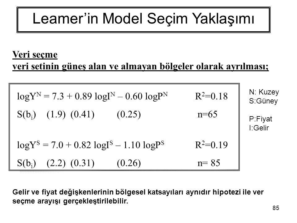 85 Leamer'in Model Seçim Yaklaşımı logY N = 7.3 + 0.89 logI N – 0.60 logP N R 2 =0.18 S(b i )(1.9) (0.41) (0.25) n=65 logY S = 7.0 + 0.82 logI S – 1.10 logP S R 2 =0.19 S(b i )(2.2) (0.31) (0.26) n= 85 Veri seçme veri setinin güneş alan ve almayan bölgeler olarak ayrılması; N: Kuzey S:Güney P:Fiyat I:Gelir Gelir ve fiyat değişkenlerinin bölgesel katsayıları aynıdır hipotezi ile ver seçme arayışı gerçekleştirilebilir.