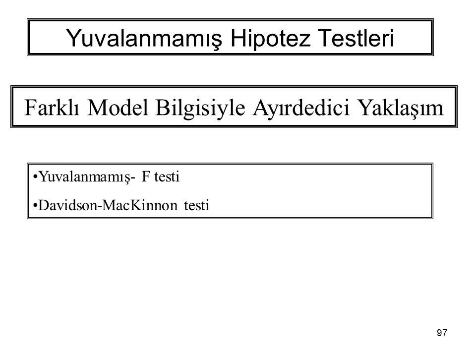 97 Yuvalanmamış Hipotez Testleri Farklı Model Bilgisiyle Ayırdedici Yaklaşım Yuvalanmamış- F testi Davidson-MacKinnon testi