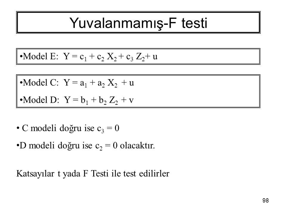 98 Yuvalanmamış-F testi Model E: Y = c 1 + c 2 X 2 + c 3 Z 2 + u Model C: Y = a 1 + a 2 X 2 + u Model D: Y = b 1 + b 2 Z 2 + v C modeli doğru ise c 3 = 0 D modeli doğru ise c 2 = 0 olacaktır.