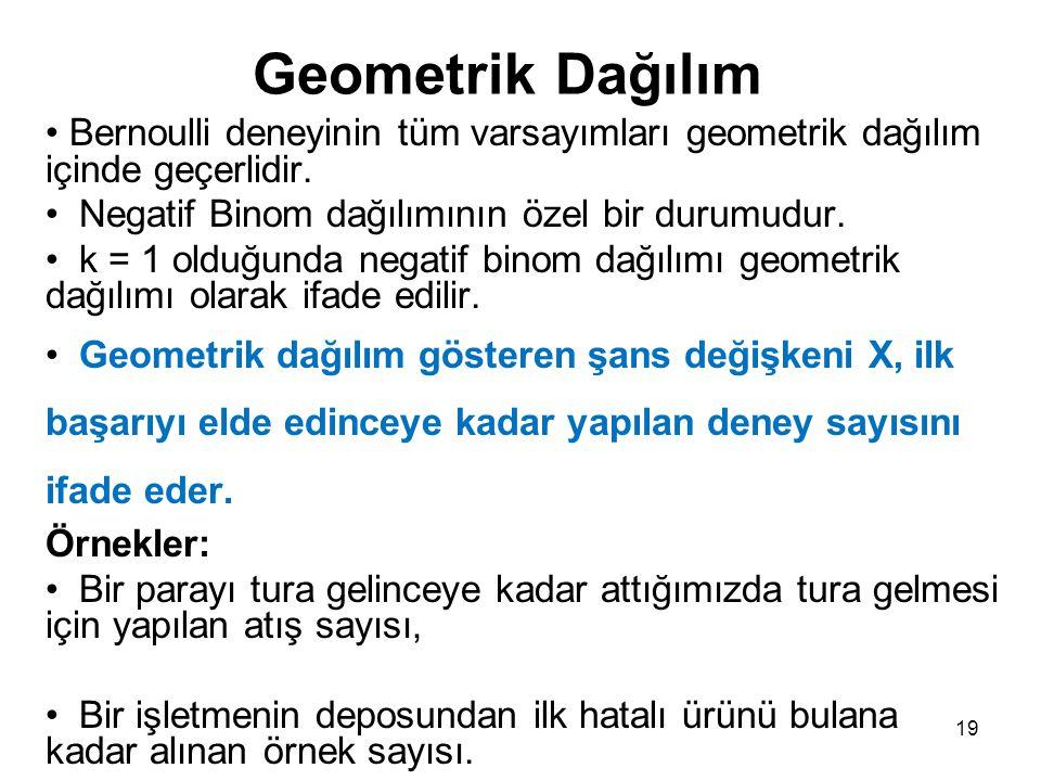 19 Geometrik Dağılım Bernoulli deneyinin tüm varsayımları geometrik dağılım içinde geçerlidir.