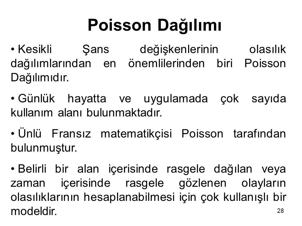 28 Poisson Dağılımı Kesikli Şans değişkenlerinin olasılık dağılımlarından en önemlilerinden biri Poisson Dağılımıdır.