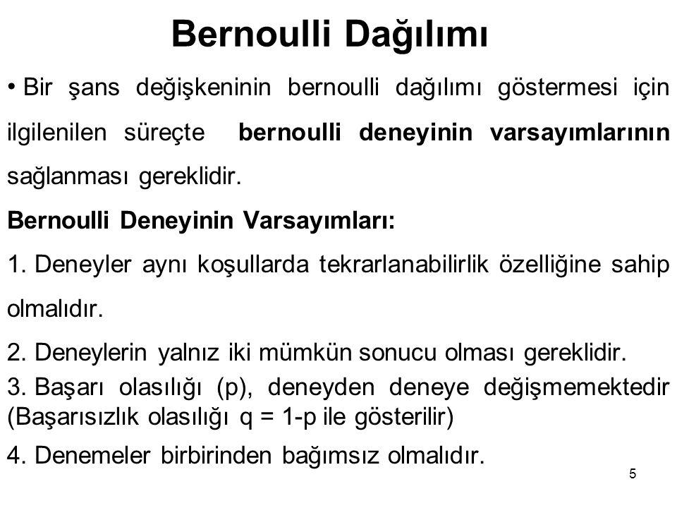 5 Bernoulli Dağılımı Bir şans değişkeninin bernoulli dağılımı göstermesi için ilgilenilen süreçte bernoulli deneyinin varsayımlarının sağlanması gereklidir.