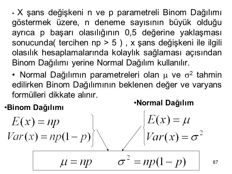 67 X şans değişkeni n ve p parametreli Binom Dağılımı göstermek üzere, n deneme sayısının büyük olduğu ayrıca p başarı olasılığının 0,5 değerine yaklaşması sonucunda( tercihen np > 5 ), x şans değişkeni ile ilgili olasılık hesaplamalarında kolaylık sağlaması açısından Binom Dağılımı yerine Normal Dağılım kullanılır.