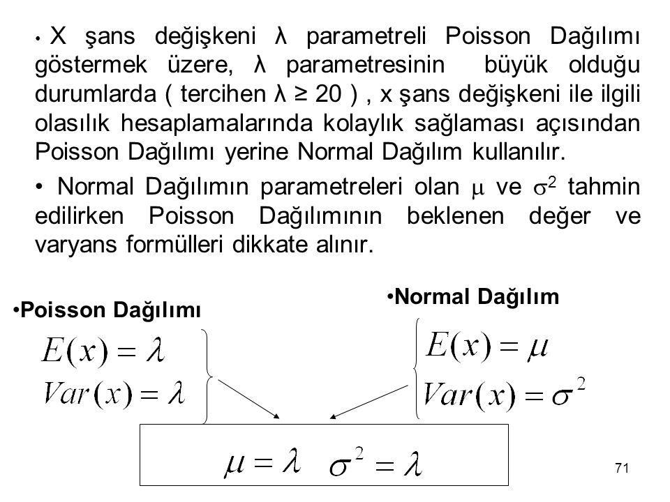 71 X şans değişkeni λ parametreli Poisson Dağılımı göstermek üzere, λ parametresinin büyük olduğu durumlarda ( tercihen λ ≥ 20 ), x şans değişkeni ile ilgili olasılık hesaplamalarında kolaylık sağlaması açısından Poisson Dağılımı yerine Normal Dağılım kullanılır.
