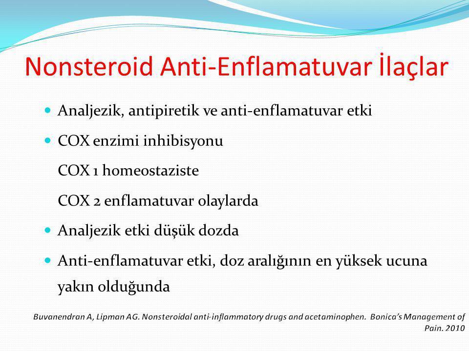 Analjezik, antipiretik ve anti-enflamatuvar etki COX enzimi inhibisyonu COX 1 homeostaziste COX 2 enflamatuvar olaylarda Analjezik etki düşük dozda Anti-enflamatuvar etki, doz aralığının en yüksek ucuna yakın olduğunda Nonsteroid Anti-Enflamatuvar İlaçlar