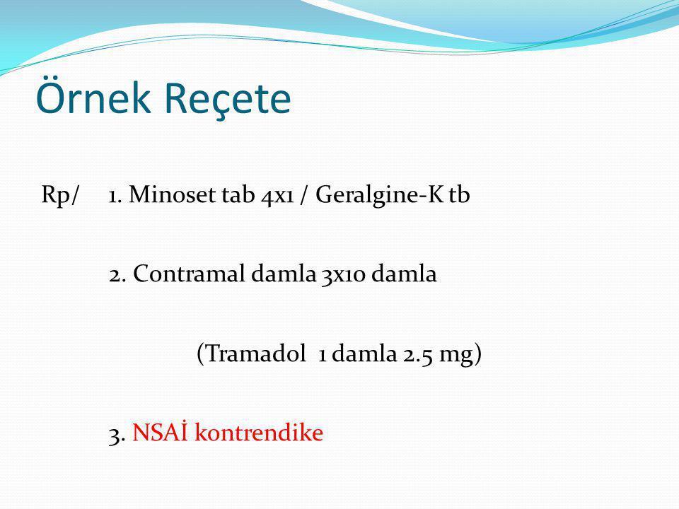 Örnek Reçete Rp/1.Minoset tab 4x1 / Geralgine-K tb 2.