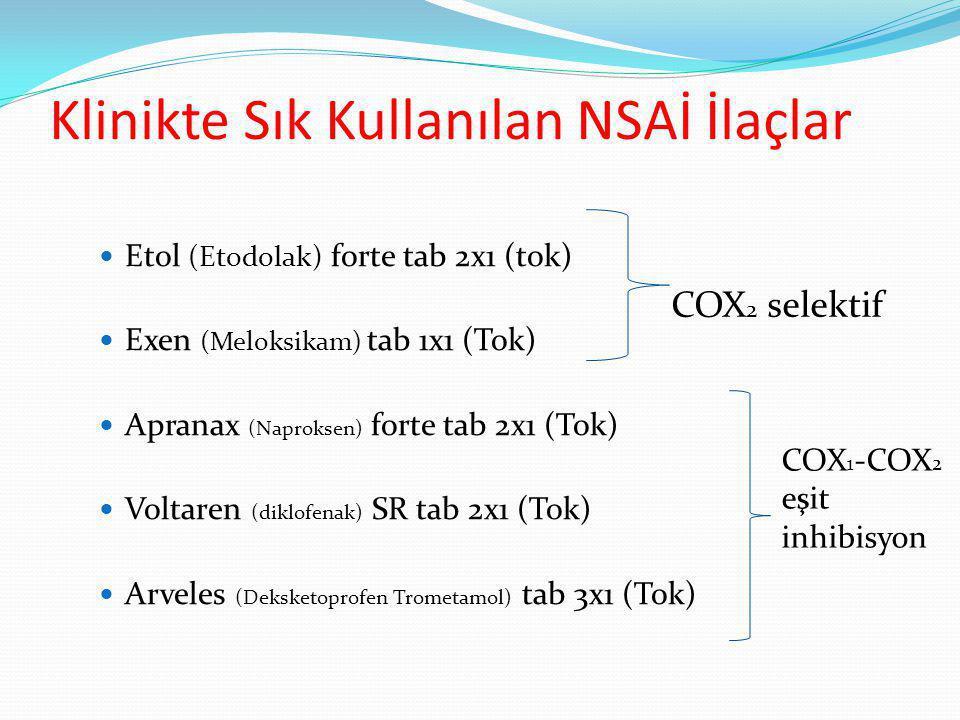 Klinikte Sık Kullanılan NSAİ İlaçlar Etol (Etodolak) forte tab 2x1 (tok) Exen (Meloksikam) tab 1x1 (Tok) Apranax (Naproksen) forte tab 2x1 (Tok) Voltaren (diklofenak) SR tab 2x1 (Tok) Arveles (Deksketoprofen Trometamol) tab 3x1 (Tok) COX 2 selektif COX 1 -COX 2 eşit inhibisyon