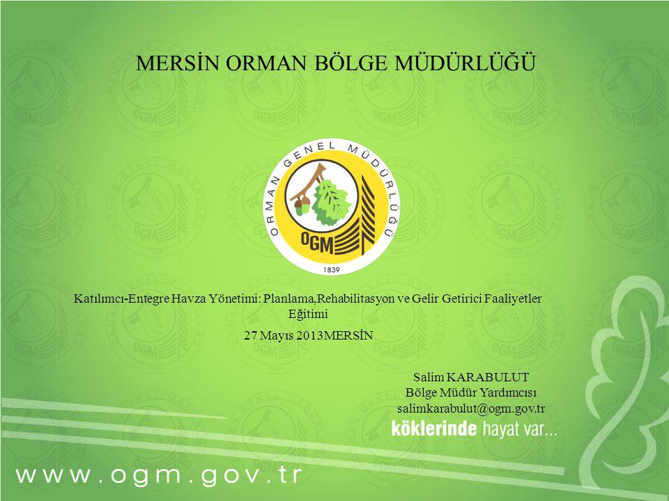 1 MERSİN ORMAN BÖLGE MÜDÜRLÜĞÜ Salim KARABULUT Bölge Müdür Yardımcısı salimkarabulut@ogm.gov.tr Katılımcı-Entegre Havza Yönetimi: Planlama,Rehabilitas