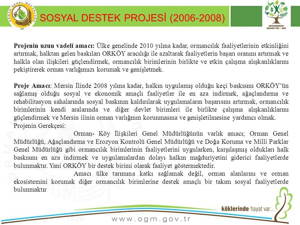 SOSYAL DESTEK PROJESİ (2006-2008) 31 Projenin uzun vadeli amacı: Ülke genelinde 2010 yılına kadar, ormancılık faaliyetlerinin etkinliğini artırmak, ha