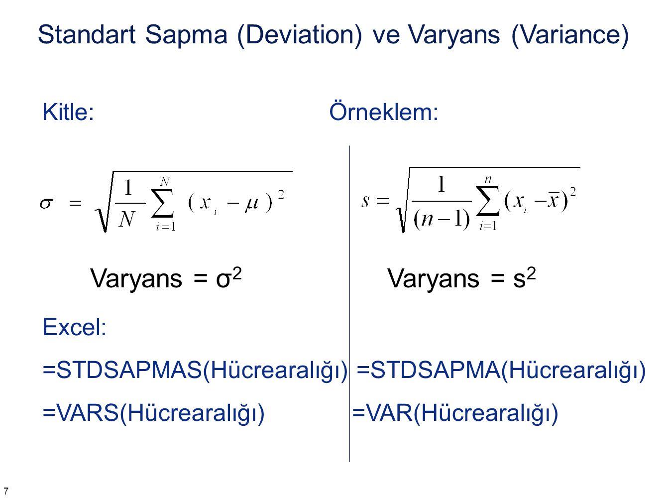 Kitle: Örneklem: Excel: =STDSAPMAS(Hücrearalığı) =STDSAPMA(Hücrearalığı) =VARS(Hücrearalığı) =VAR(Hücrearalığı) Standart Sapma (Deviation) ve Varyans