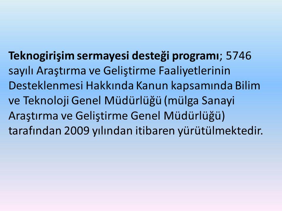 Teknogirişim sermayesi desteği programı; 5746 sayılı Araştırma ve Geliştirme Faaliyetlerinin Desteklenmesi Hakkında Kanun kapsamında Bilim ve Teknoloj