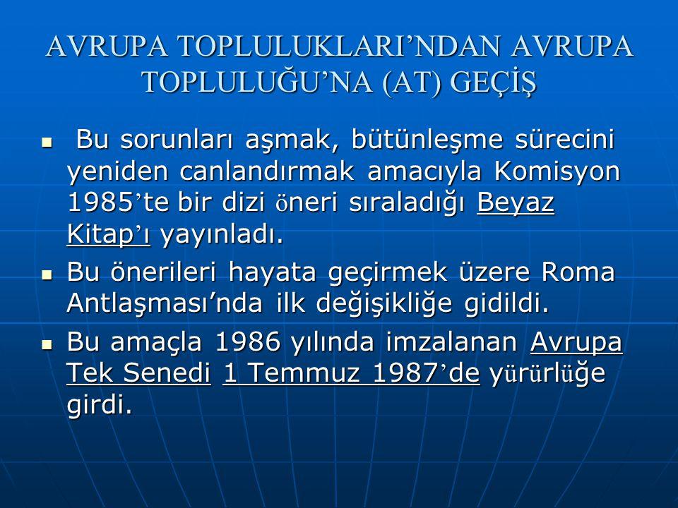 AVRUPA TOPLULUKLARI'NDAN AVRUPA TOPLULUĞU'NA (AT) GEÇİŞ Bu sorunları aşmak, bütünleşme sürecini yeniden canlandırmak amacıyla Komisyon 1985 ' te bir d