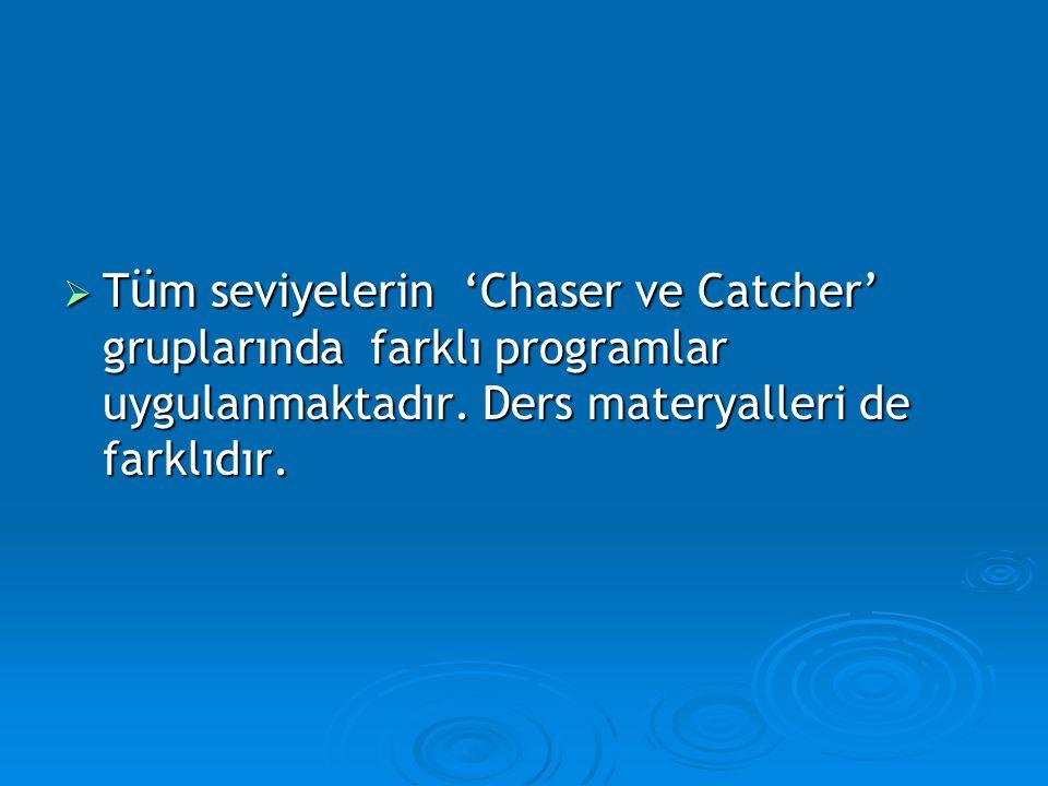  T ü m seviyelerin 'Chaser ve Catcher' gruplarında farklı programlar uygulanmaktadır.
