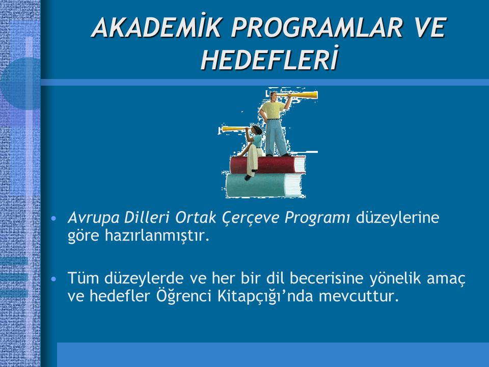 AKADEMİK PROGRAMLAR VE HEDEFLERİ Avrupa Dilleri Ortak Çerçeve Programı düzeylerine göre hazırlanmıştır.