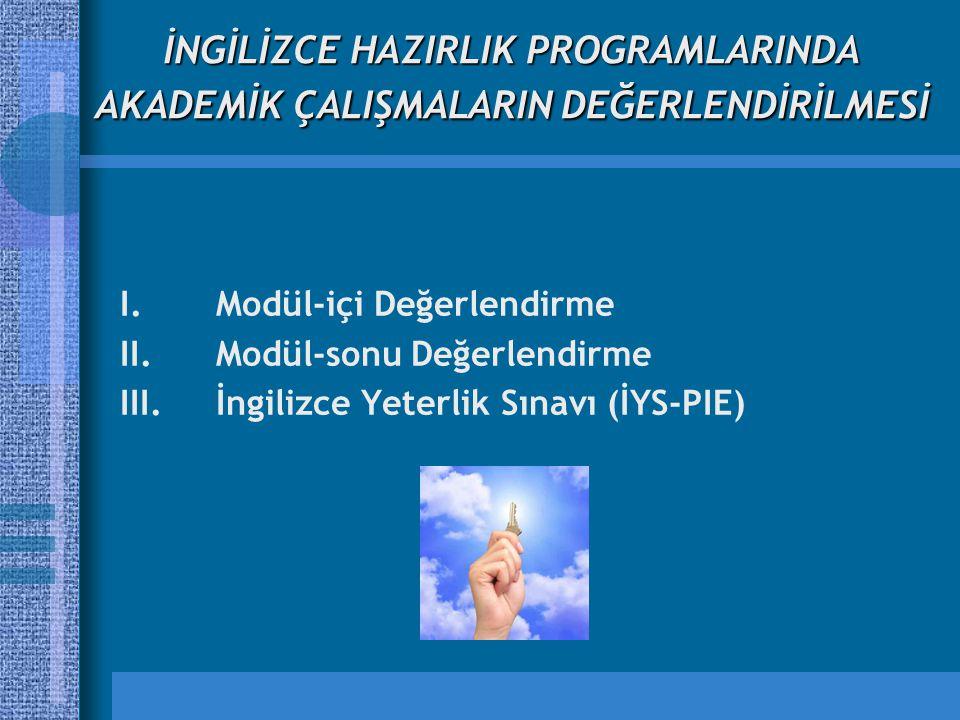 İNGİLİZCE HAZIRLIK PROGRAMLARINDA AKADEMİK ÇALIŞMALARIN DEĞERLENDİRİLMESİ I.Modül-içi Değerlendirme II.