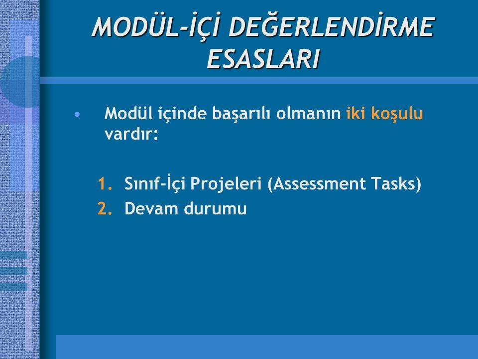 MODÜL-İÇİ DEĞERLENDİRME ESASLARI Modül içinde başarılı olmanın iki koşulu vardır: 1.Sınıf-İçi Projeleri (Assessment Tasks) 2.Devam durumu