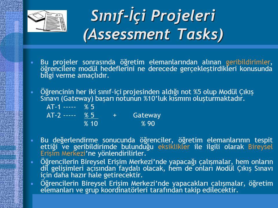 Sınıf-İçi Projeleri (Assessment Tasks) Bu projeler sonrasında öğretim elemanlarından alınan geribildirimler, öğrencilere modül hedeflerini ne derecede gerçekleştirdikleri konusunda bilgi verme amaçlıdır.