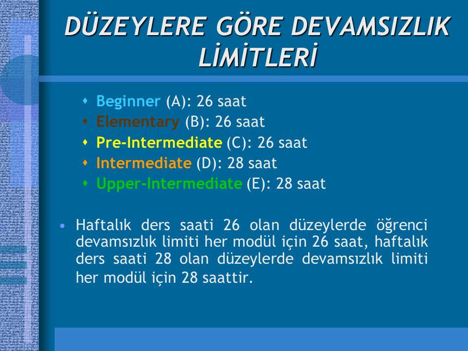 DÜZEYLERE GÖRE DEVAMSIZLIK LİMİTLERİ  Beginner (A): 26 saat  Elementary (B): 26 saat  Pre-Intermediate (C): 26 saat  Intermediate (D): 28 saat  Upper-Intermediate (E): 28 saat Haftalık ders saati 26 olan düzeylerde öğrenci devamsızlık limiti her modül için 26 saat, haftalık ders saati 28 olan düzeylerde devamsızlık limiti her modül için 28 saattir.