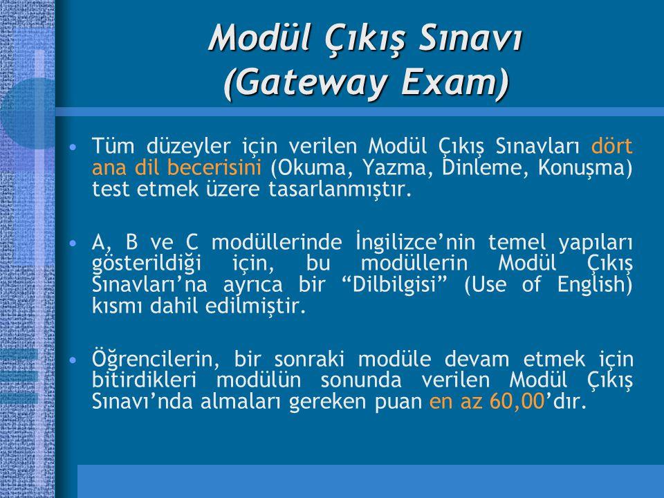 Modül Çıkış Sınavı (Gateway Exam) Tüm düzeyler için verilen Modül Çıkış Sınavları dört ana dil becerisini (Okuma, Yazma, Dinleme, Konuşma) test etmek üzere tasarlanmıştır.