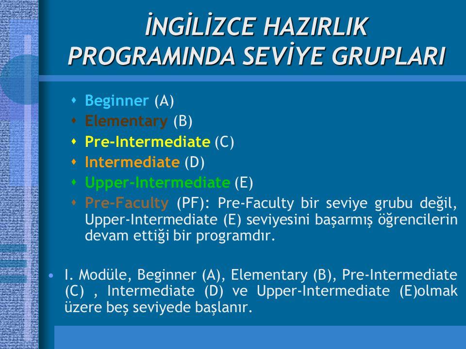 İNGİLİZCE HAZIRLIK PROGRAMINDA SEVİYE GRUPLARI  Beginner (A)  Elementary (B)  Pre-Intermediate (C)  Intermediate (D)  Upper-Intermediate (E)  Pre-Faculty (PF): Pre-Faculty bir seviye grubu değil, Upper-Intermediate (E) seviyesini başarmış öğrencilerin devam ettiği bir programdır.