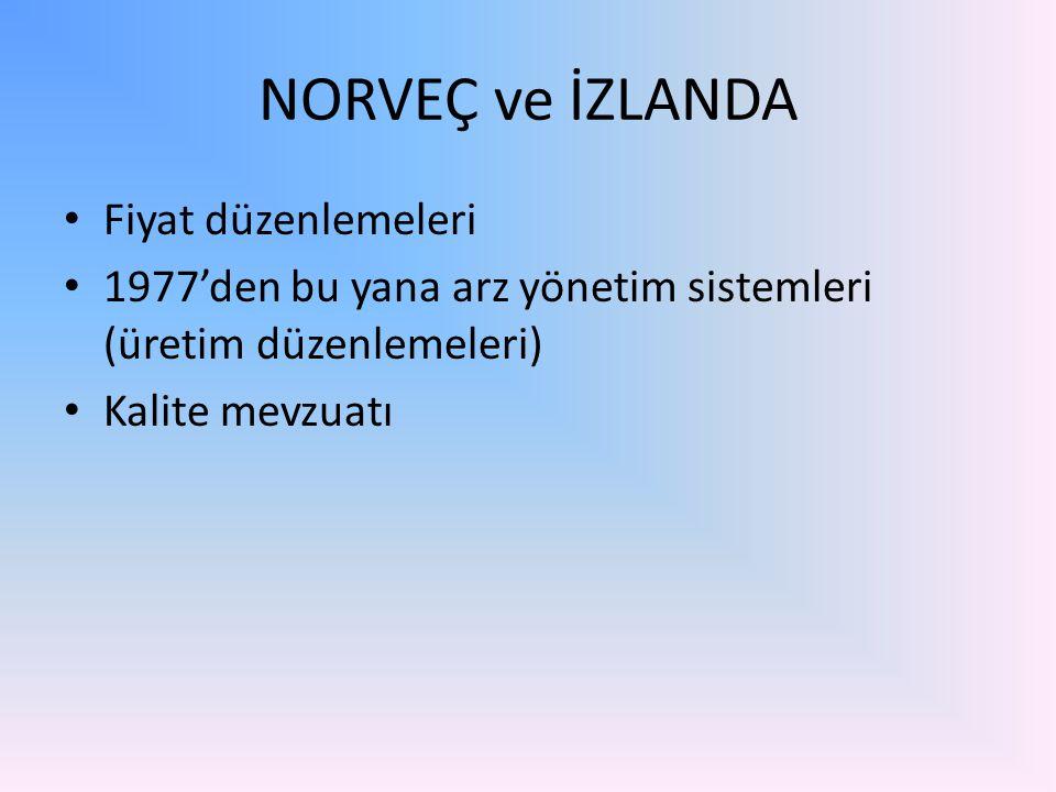NORVEÇ ve İZLANDA Fiyat düzenlemeleri 1977'den bu yana arz yönetim sistemleri (üretim düzenlemeleri) Kalite mevzuatı