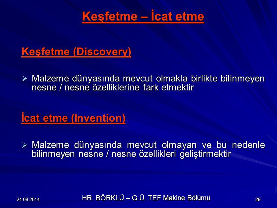 24.08.201430 İcat etme – Yenilik İcat etme (Invention)  Yeni bilimsel bulgular / saptanan bilimsel bilgiye ait yeni birleşimleri tekniğe uygulamaktır Yenilik (Innovation) Dar manada  Piyasaya yeni bir ürün sunmak / yeni bir üretim işlemi başlatmaktır Geniş manada  Bir icat ve dar manadaki yenilikten oluşan tüm işlem Yenilik (Innovation) işlemi  Genel manadaki bir yenilik işlemini belirtir HR.