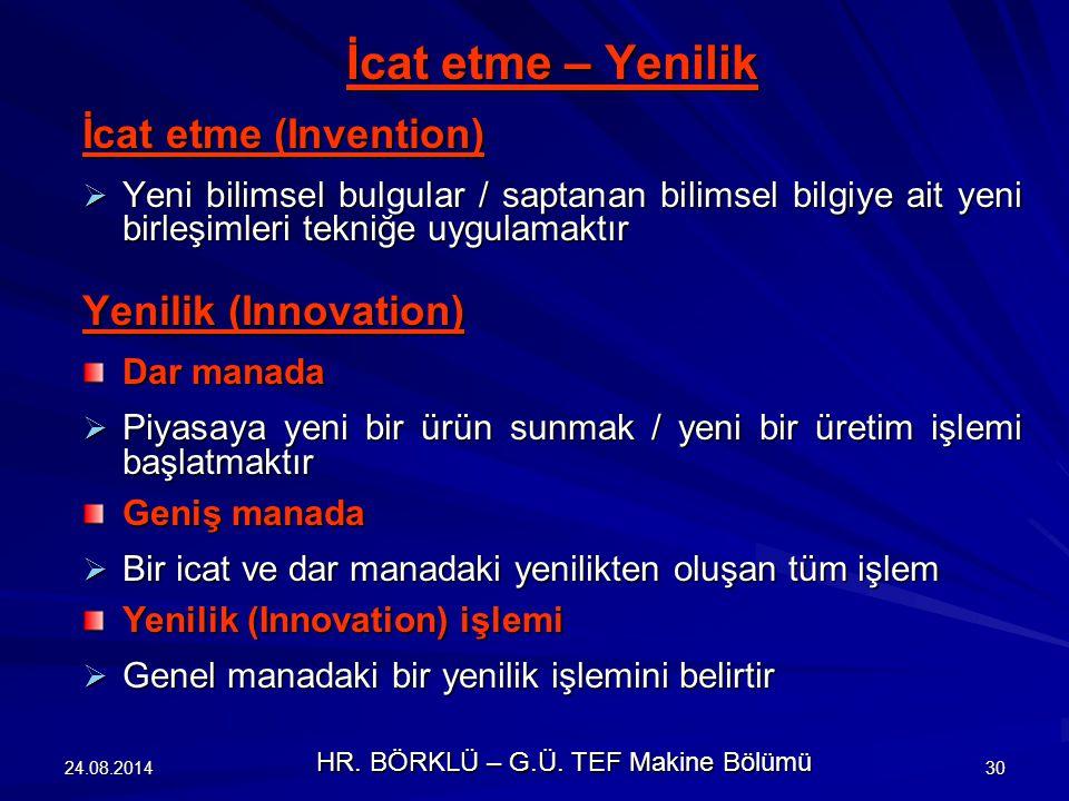 24.08.201430 İcat etme – Yenilik İcat etme (Invention)  Yeni bilimsel bulgular / saptanan bilimsel bilgiye ait yeni birleşimleri tekniğe uygulamaktır