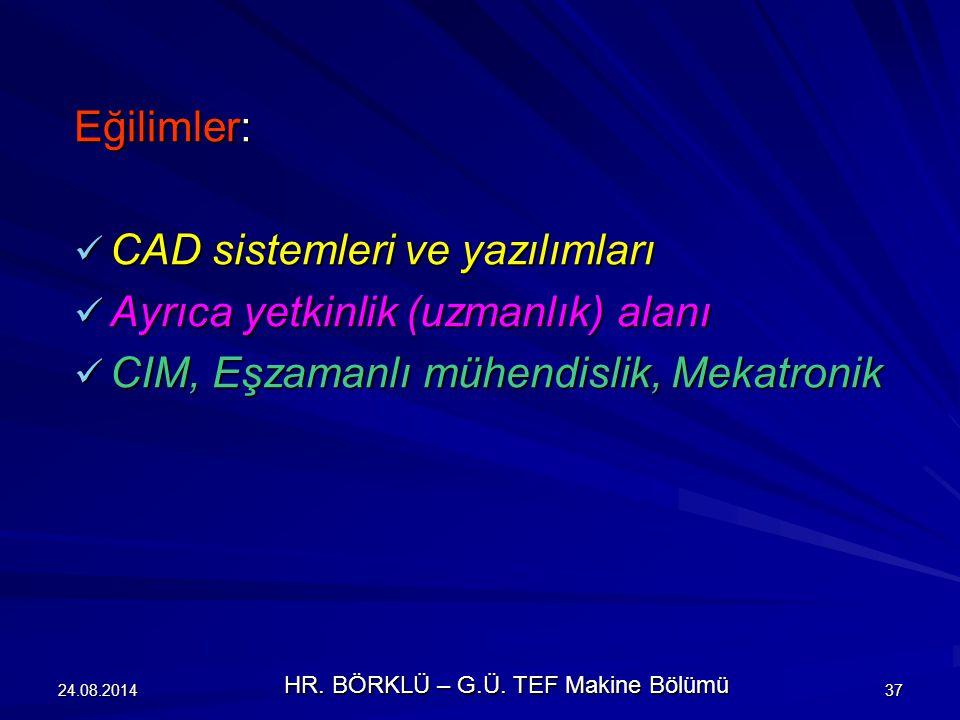 24.08.201437 Eğilimler: CAD sistemleri ve yazılımları CAD sistemleri ve yazılımları Ayrıca yetkinlik (uzmanlık) alanı Ayrıca yetkinlik (uzmanlık) alan