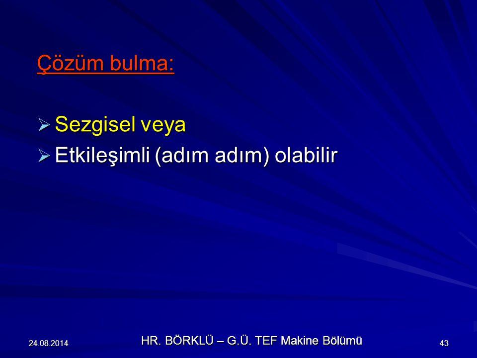 24.08.201443 Çözüm bulma:  Sezgisel veya  Etkileşimli (adım adım) olabilir HR. BÖRKLÜ – G.Ü. TEF Makine Bölümü