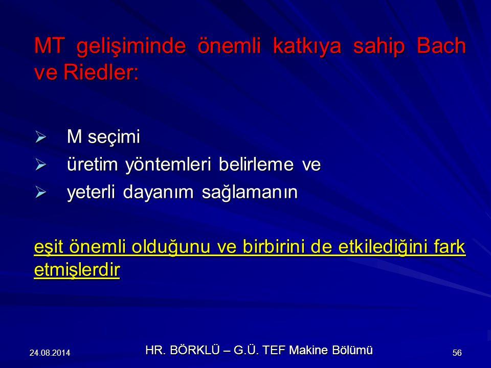 24.08.201456 MT gelişiminde önemli katkıya sahip Bach ve Riedler:  M seçimi  üretim yöntemleri belirleme ve  yeterli dayanım sağlamanın eşit önemli