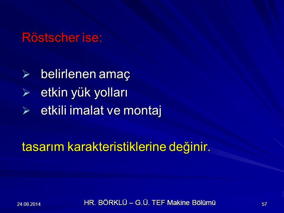 24.08.201457 Röstscher ise:  belirlenen amaç  etkin yük yolları  etkili imalat ve montaj tasarım karakteristiklerine değinir. HR. BÖRKLÜ – G.Ü. TEF