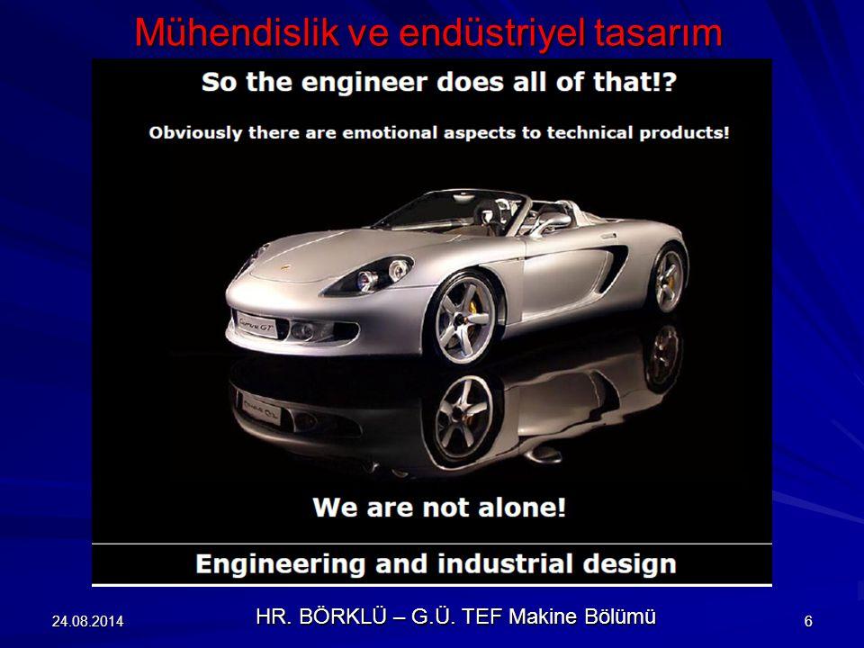 24.08.20146 Mühendislik ve endüstriyel tasarım HR. BÖRKLÜ – G.Ü. TEF Makine Bölümü