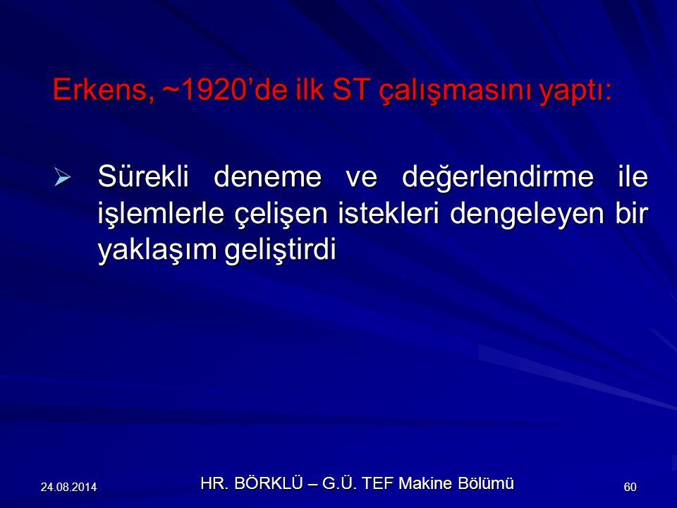 24.08.201460 Erkens, ~1920'de ilk ST çalışmasını yaptı:  Sürekli deneme ve değerlendirme ile işlemlerle çelişen istekleri dengeleyen bir yaklaşım gel