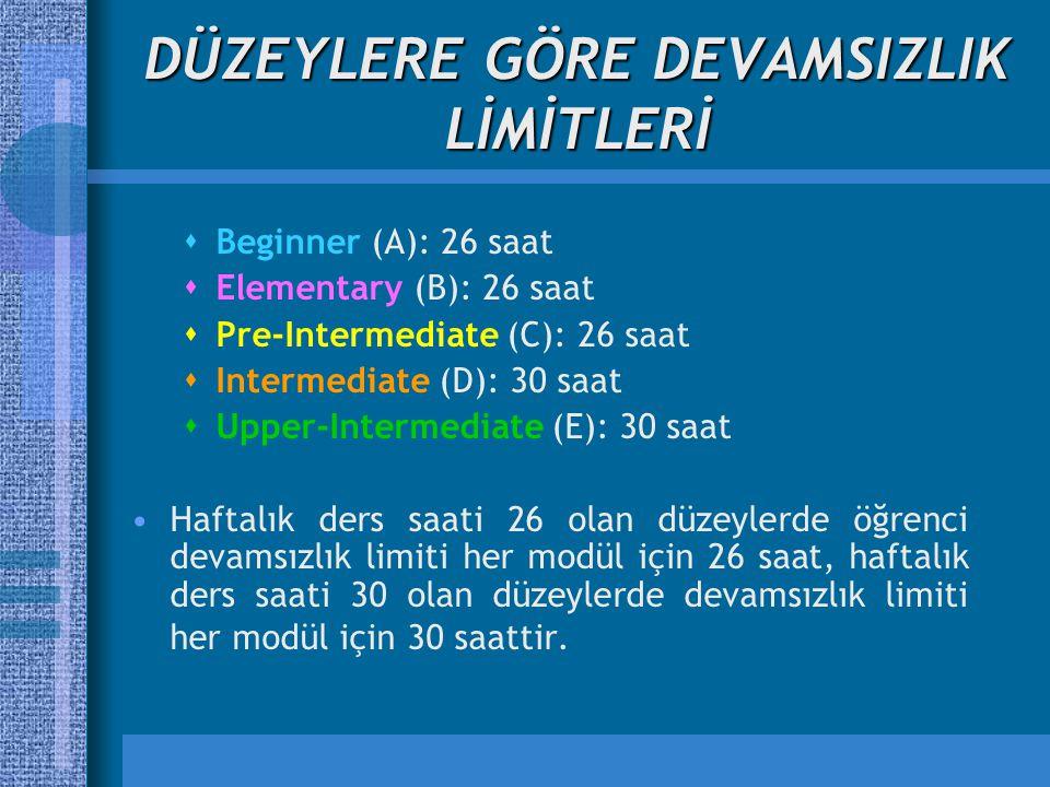 DÜZEYLERE GÖRE DEVAMSIZLIK LİMİTLERİ  Beginner (A): 26 saat  Elementary (B): 26 saat  Pre-Intermediate (C): 26 saat  Intermediate (D): 30 saat  U