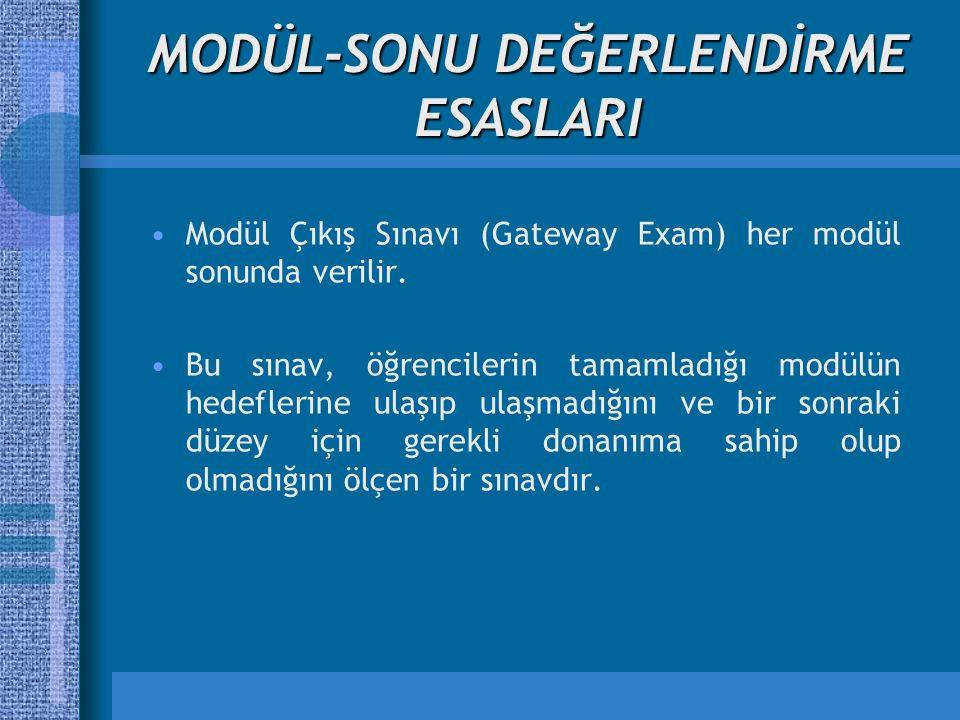 MODÜL-SONU DEĞERLENDİRME ESASLARI Modül Çıkış Sınavı (Gateway Exam) her modül sonunda verilir. Bu sınav, öğrencilerin tamamladığı modülün hedeflerine