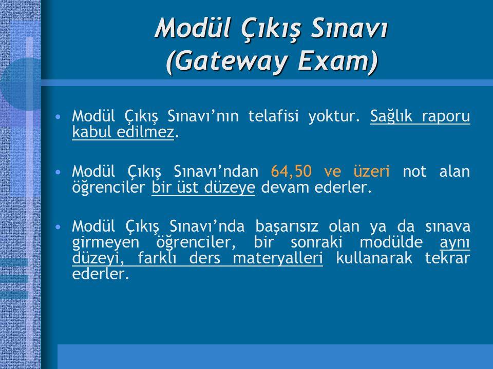 Modül Çıkış Sınavı (Gateway Exam) Modül Çıkış Sınavı'nın telafisi yoktur. Sağlık raporu kabul edilmez. Modül Çıkış Sınavı'ndan 64,50 ve üzeri not alan