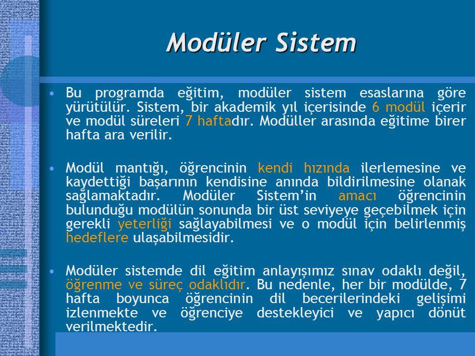 Modüler Sistem Bu programda eğitim, modüler sistem esaslarına göre yürütülür. Sistem, bir akademik yıl içerisinde 6 modül içerir ve modül süreleri 7 h