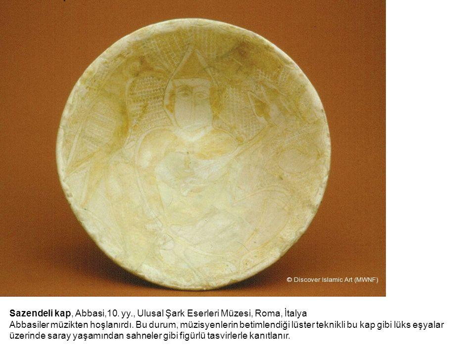 Sazendeli kap, Abbasi,10. yy., Ulusal Şark Eserleri Müzesi, Roma, İtalya Abbasiler müzikten hoşlanırdı. Bu durum, müzisyenlerin betimlendiği lüster te