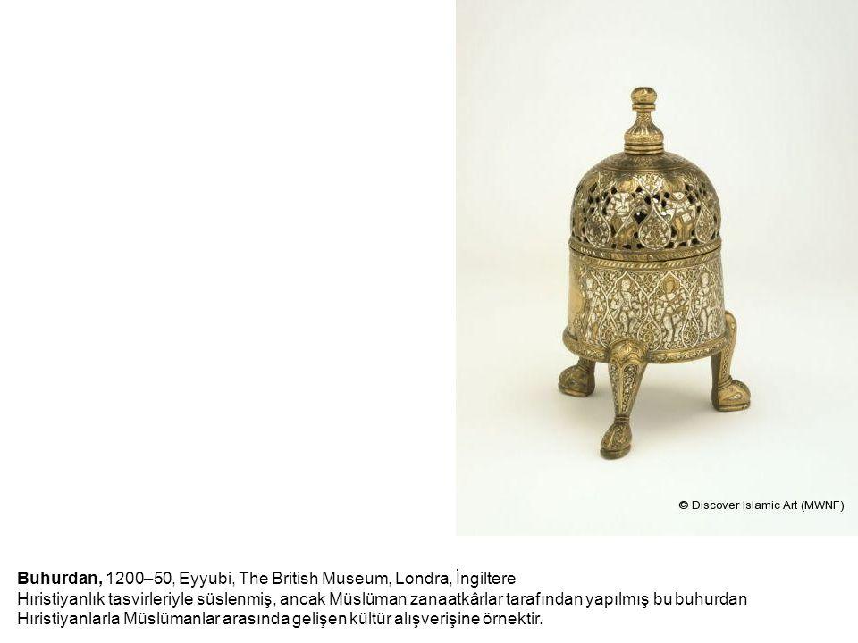 Buhurdan, 1200–50, Eyyubi, The British Museum, Londra, İngiltere Hıristiyanlık tasvirleriyle süslenmiş, ancak Müslüman zanaatkârlar tarafından yapılmı
