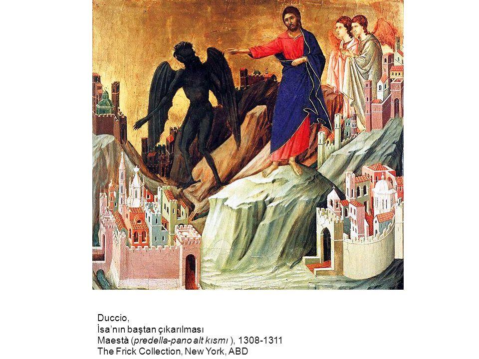 Duccio, İsa'nın baştan çıkarılması Maestà (predella-pano alt kısmı ), 1308-1311 The Frick Collection, New York, ABD