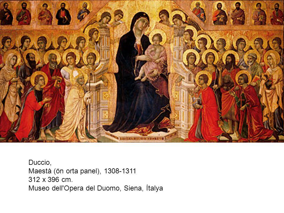 Duccio, Maestà (ön orta panel), 1308-1311 312 x 396 cm. Museo dell'Opera del Duomo, Siena, İtalya