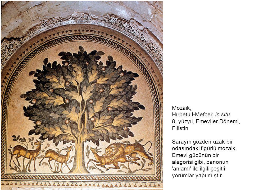 Mozaik, Hırbetü'l-Mefcer, in situ 8. yüzyıl, Emeviler Dönemi, Filistin Sarayın gözden uzak bir odasındaki figürlü mozaik. Emevi gücünün bir alegorisi