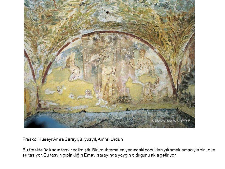 Fresko, Kuseyr Amra Sarayı, 8. yüzyıl, Amra, Ürdün Bu freskte üç kadın tasvir edilmiştir. Biri muhtemelen yanındaki çocukları yıkamak amacıyla bir kov