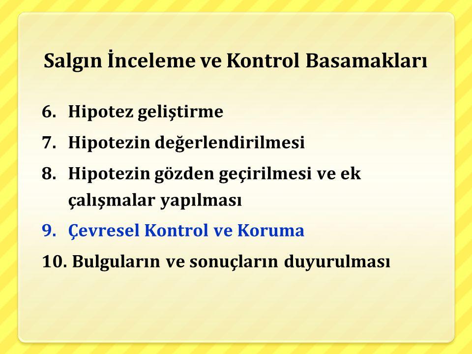 Salgın İnceleme ve Kontrol Basamakları 6.Hipotez geliştirme 7.Hipotezin değerlendirilmesi 8.Hipotezin gözden geçirilmesi ve ek çalışmalar yapılması 9.