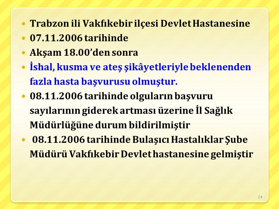 24 Trabzon ili Vakfıkebir ilçesi Devlet Hastanesine 07.11.2006 tarihinde Akşam 18.00'den sonra İshal, kusma ve ateş şikâyetleriyle beklenenden fazla h