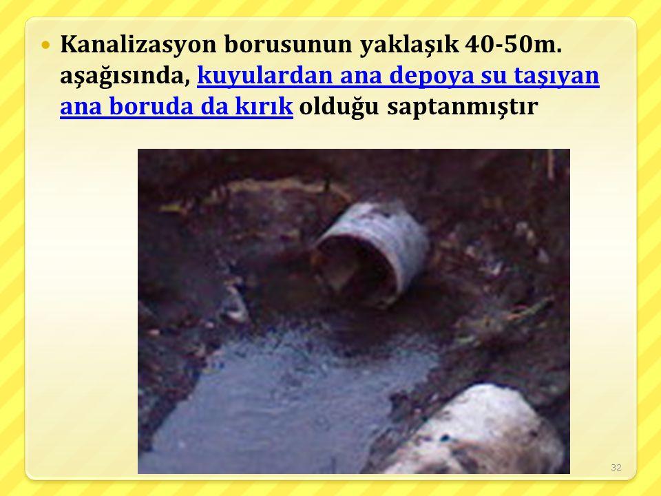 32 Kanalizasyon borusunun yaklaşık 40-50m. aşağısında, kuyulardan ana depoya su taşıyan ana boruda da kırık olduğu saptanmıştır