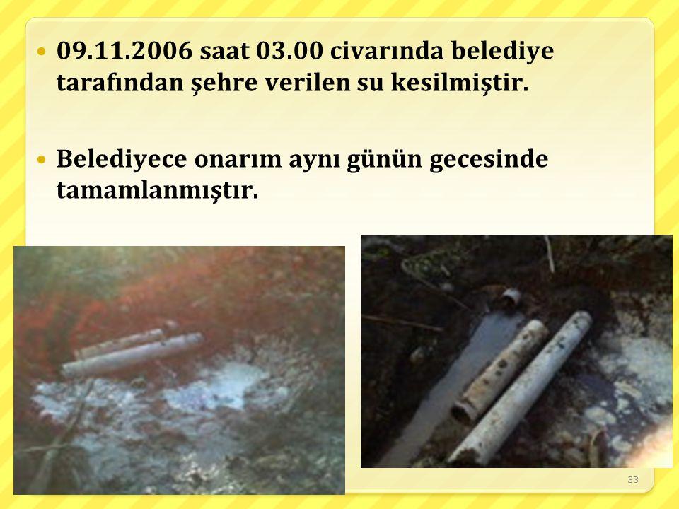 33 09.11.2006 saat 03.00 civarında belediye tarafından şehre verilen su kesilmiştir. Belediyece onarım aynı günün gecesinde tamamlanmıştır.