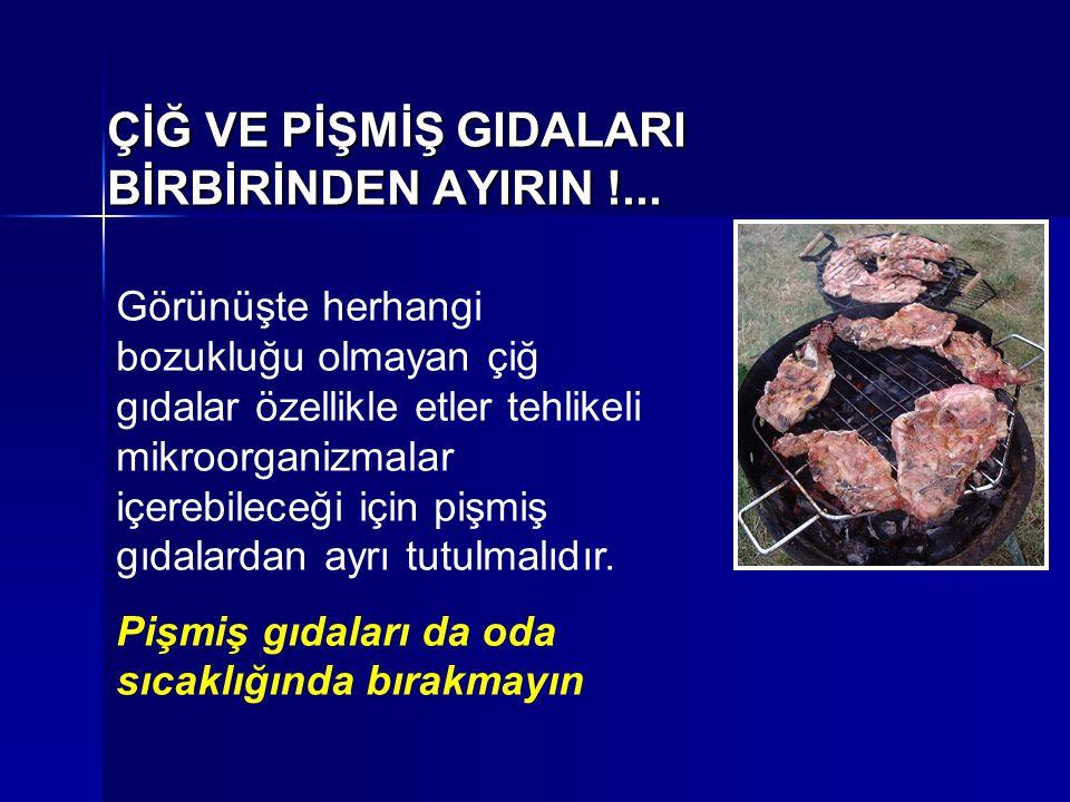 ÇİĞ VE PİŞMİŞ GIDALARI BİRBİRİNDEN AYIRIN !... Görünüşte herhangi bozukluğu olmayan çiğ gıdalar özellikle etler tehlikeli mikroorganizmalar içerebilec