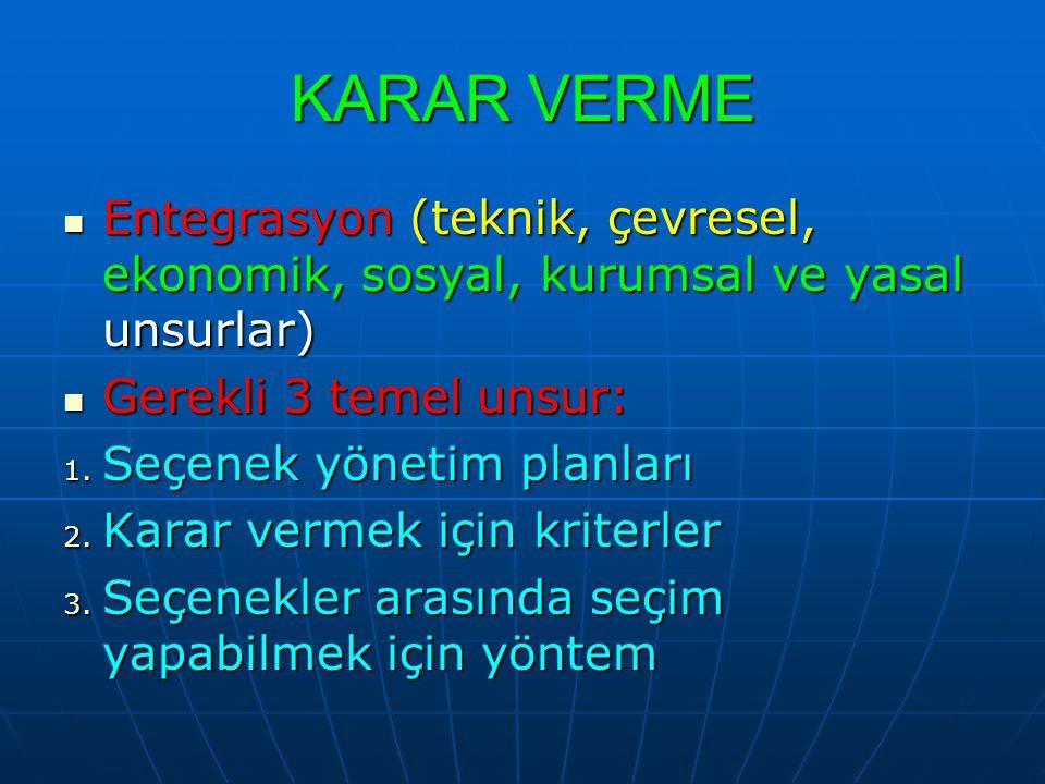 KARAR VERME Entegrasyon (teknik, çevresel, ekonomik, sosyal, kurumsal ve yasal unsurlar) Entegrasyon (teknik, çevresel, ekonomik, sosyal, kurumsal ve yasal unsurlar) Gerekli 3 temel unsur: Gerekli 3 temel unsur: 1.