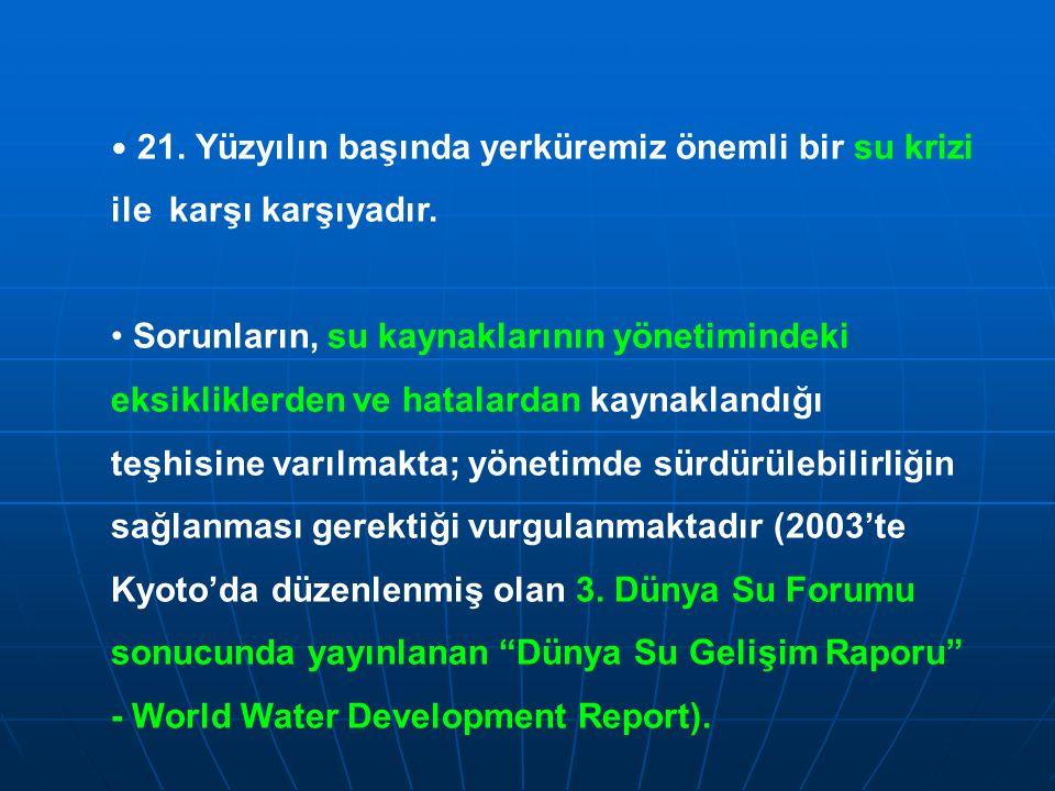 21. Yüzyılın başında yerküremiz önemli bir su krizi ile karşı karşıyadır. Sorunların, su kaynaklarının yönetimindeki eksikliklerden ve hatalardan kayn